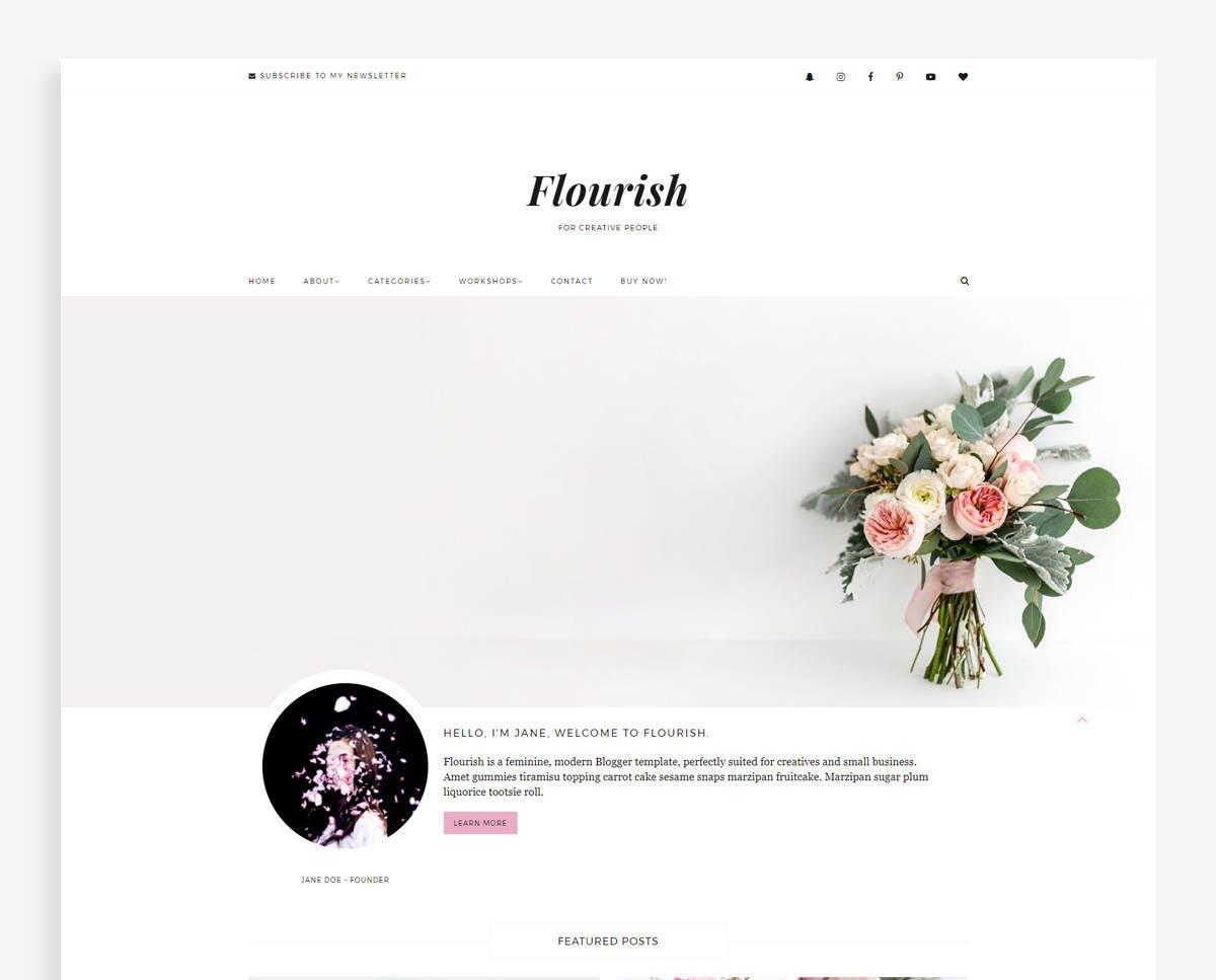 Flourish feminine blogger template small business blog etsy zoom wajeb Gallery