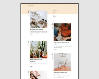 Clementine • Lifestyle Blogger Template •  Fashion Blogger Template • Beauty Blogger Template.