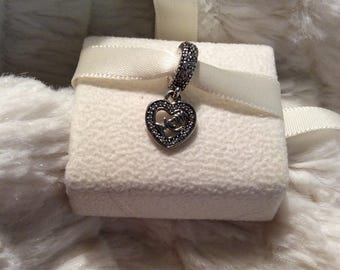 8e77b4c78a1 Authentic PANDORA Mom Center of My Heart CZ Sterling Silver Dangle Charm  w/FREE Pandora Gift Pouch 3.50 Value and Free Domestic Shipping