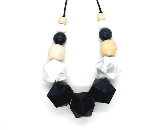 Black White Silicone Wood Bead Necklace