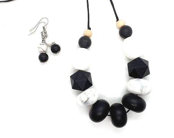 Black and White Silicone Necklace / Necklace and Earrings/ Gift Set Her