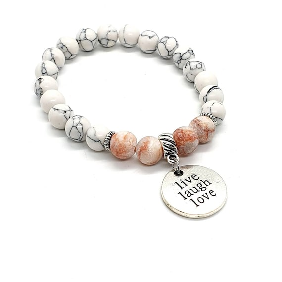 White Howlite and Red Jasper Stone Bracelet / Word Charm Bracelet