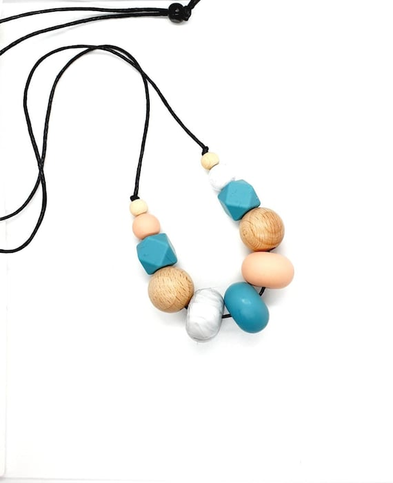 Silicone Wood Bead Necklace / Peach Blue Marble / Long Bead Necklace