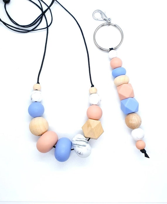Silicone Bead Necklace and Keyring  / Gift Set Her / New Mum Gift