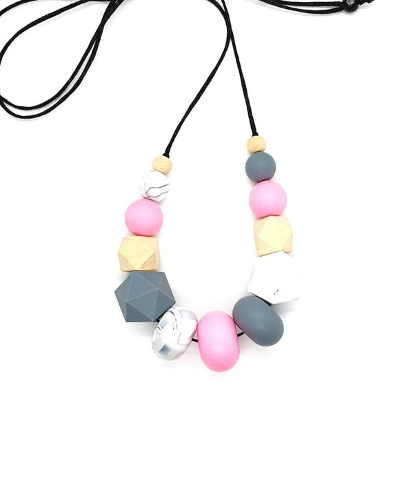 Pink and Grey Silicone Bead Necklace / Mix Media Necklace