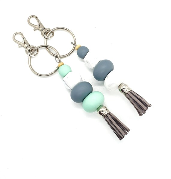 Tassel Keychain / Beaded Keychain / Silicone Bead Keychain