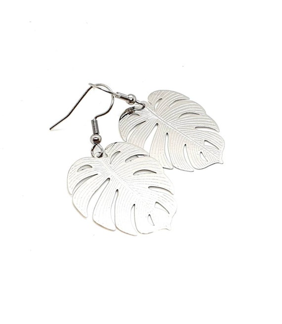 Silver Leaf Earrings  / Monstera Plant / Statement Earrings
