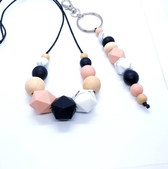 Silicone Necklace / Beaded Keyring / Gift Set for Her