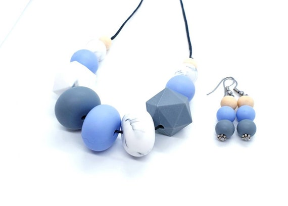 Necklace and Earring Set / Silicone Necklace / Gift Set for Mum