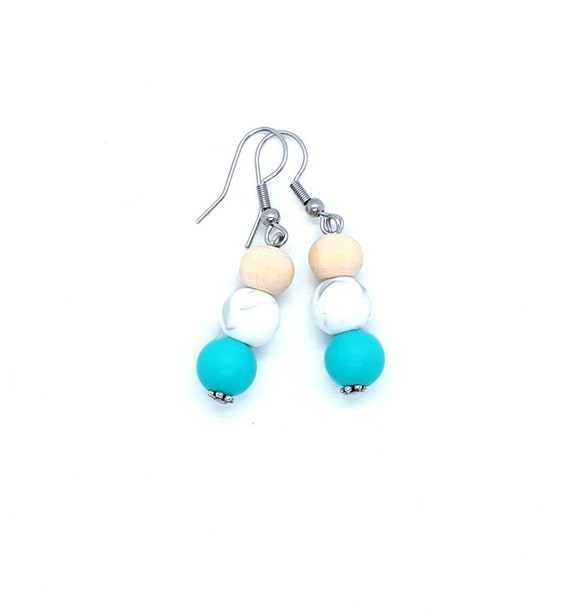 Turquoise Earrings / Boho Earrings / Wood Earrings