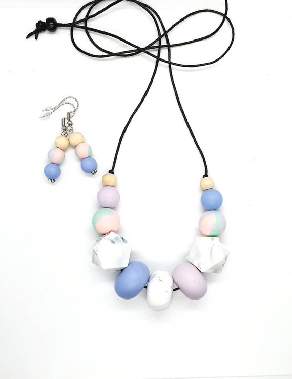 Silicone Necklace / Necklace and Earrings / Gift for Mum