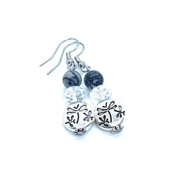 Dragonfly Earrings / Silver Dragonfly / Black Earrings