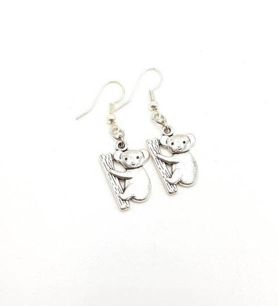 Australian Koala Silver Drop Earrings