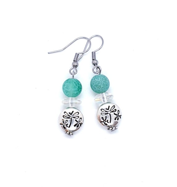 Dragonfly Earrings with Agate Bead