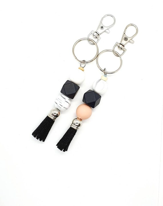 Beaded Keychain / Black Tassel Keyring / Bag Charm