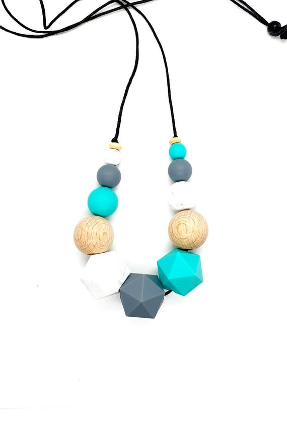 Turquoise Grey Marble Silicone Wood Bead Necklace