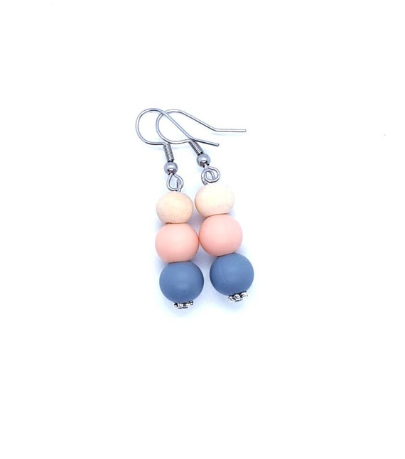 Peach Grey Dangle Earrings / Boho Earrings