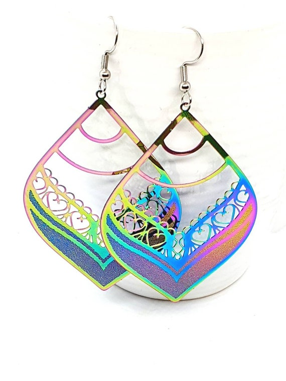 Multi Colour Leaf Earrings /Big Earrings