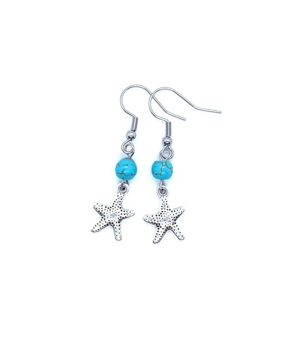 Starfish Earrings / Star Earrings / Turquoise Earrings