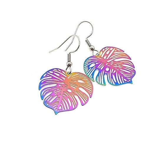 Multi Colour Monstera Leaf Earrings / Big Earrings