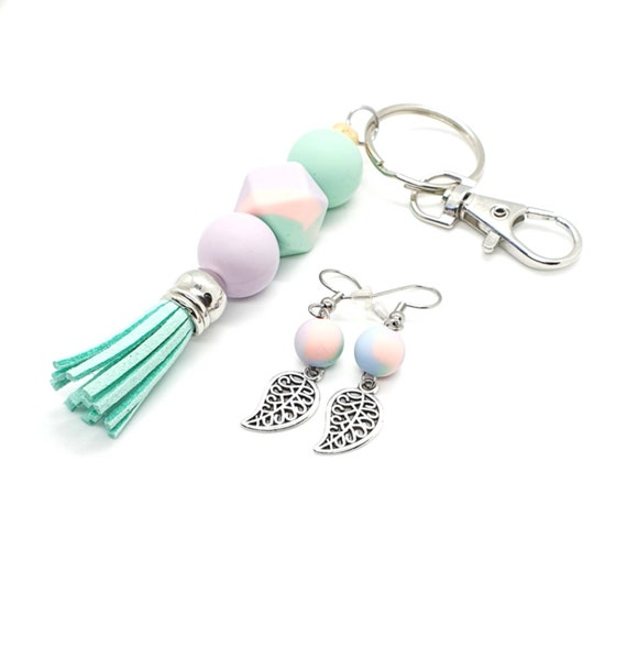 Tassel Keyring and Leaf Earrings / Boho Earrings / Silicone Key ring