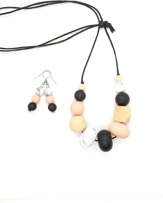 Silicone Necklace / Necklace and Earrings/ Gift Set for Her