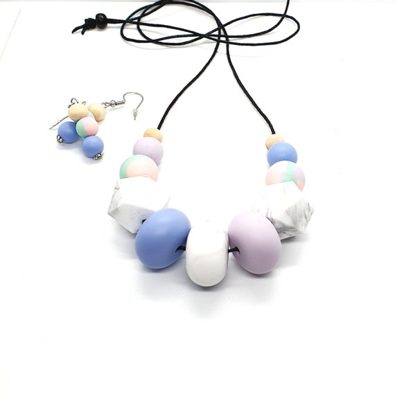 Silicone Necklace / Necklace and Earrings / Statement Necklace