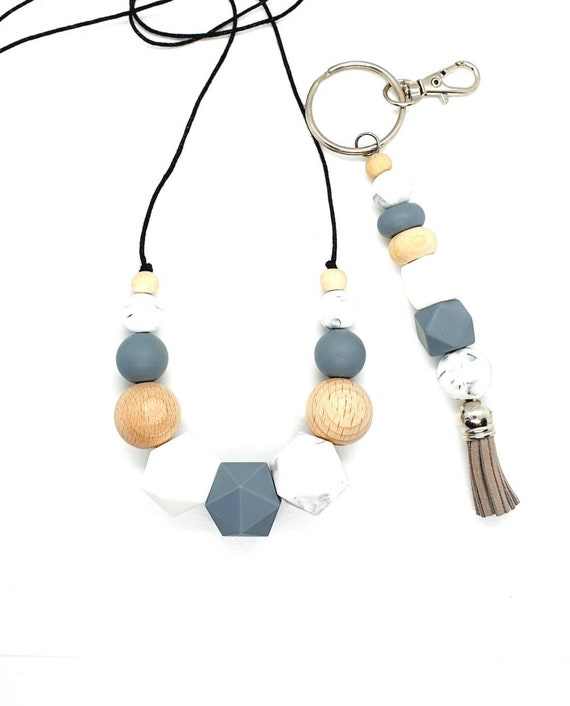 Silicone Necklace and Silicone Key Ring  / Gift Set Her / Grey and White
