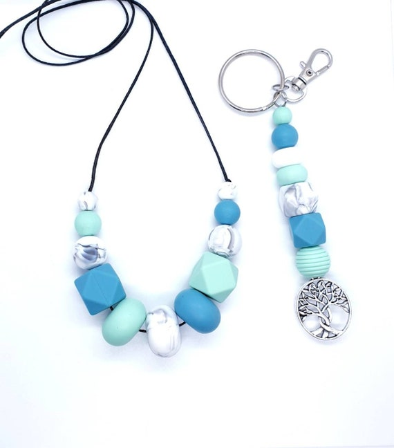 Blue Green Silicone Necklace and Key Ring  / Gift Set Her / New Mum Gift
