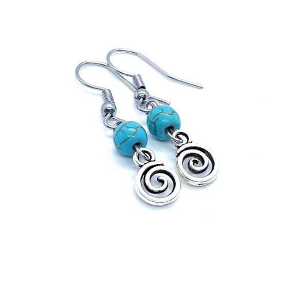 Swirl Earrings / Vertigo Earrings / Infinity Earrings / Turquoise Earrings