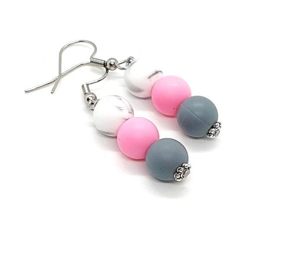 Pink Grey Marble Silicone Bead Earrings / Drop Bead Earrings
