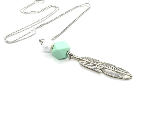Long Feather Pendant Necklace / Chain Necklace / Charm Necklace