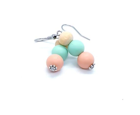 Peach Mint Green Dangle Earrings / Boho Earrings