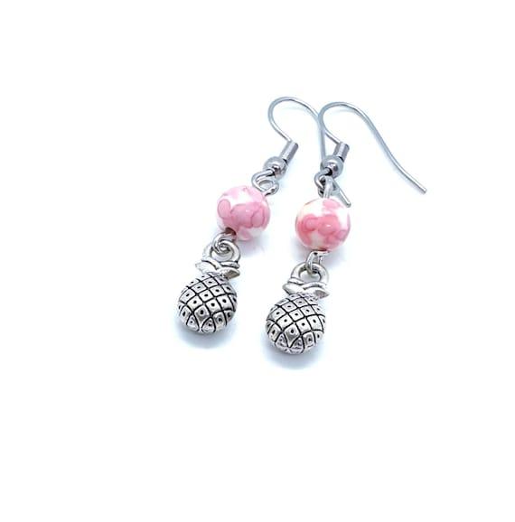 Pineapple Earrings / Pink Earrings  / Tropical Earrings