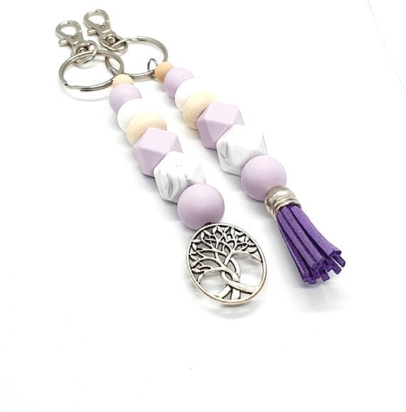 Purple Keychain / Silicone Key Ring / Beaded Keychain / Tree of Life / Tassel Keychain