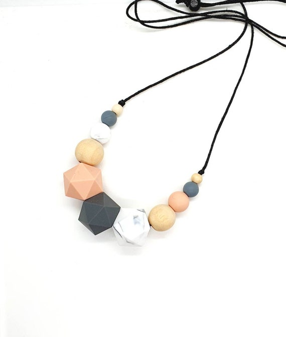 Silicone Bead Necklace / Mix Media Necklace / Peach Grey Marble Necklace