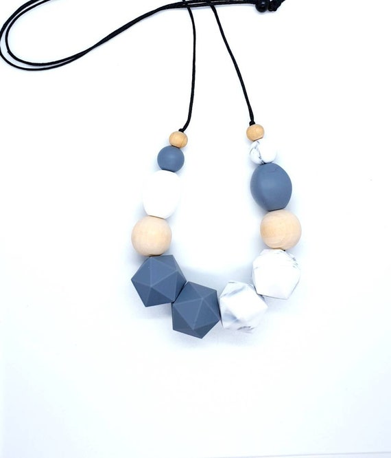 Grey White Silicone Bead Necklace