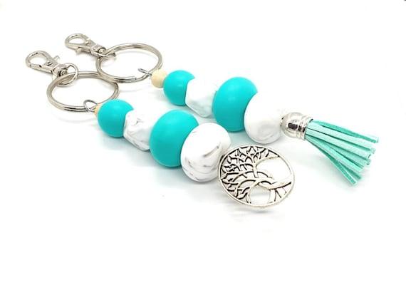 Turquoise Keychain / Tassel Keychain  / Beaded Keychain