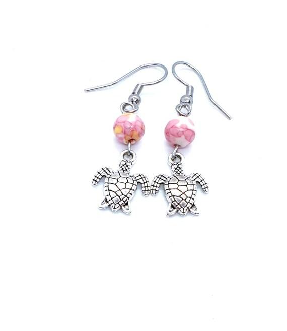 Turtle Earrings / Pink Earrings / Animal Jewelry