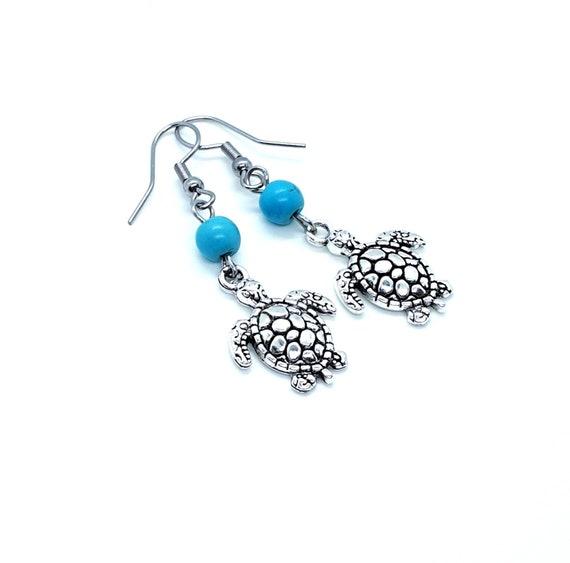 Silver Turtle Dangle Turquoise Bead Earrings