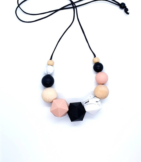 Mix Media Necklace / Black Peach Necklace / Silicone and Wood Bead Necklace