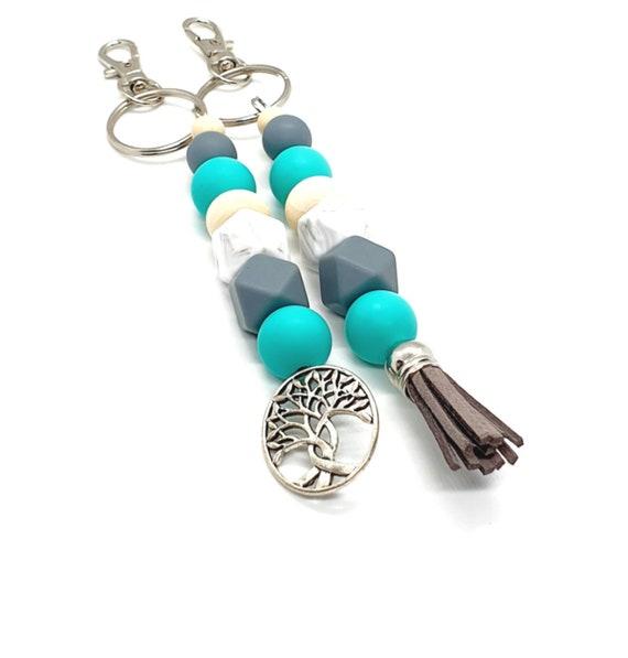 Turquoise Keychain / Silicone Key Ring / Beaded Keychain / Tree of Life / Tassel Keychain