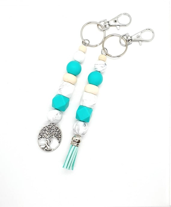 Turquoise and White Keychain / Tree of Life / Tassel Keychain