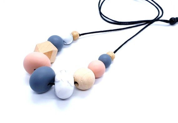 Silicone Wood Bead Necklace / Mix Media Necklace