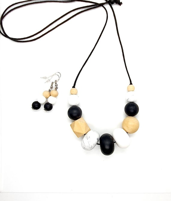 Black and White Jewellery / Mix Media Necklace and Earrings/ Gift Set Her