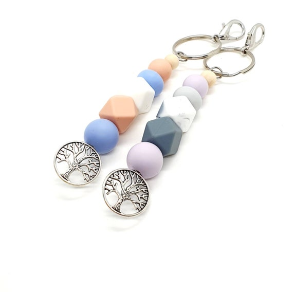 Silicone Keychain / Tree of Life / Beaded Keyring