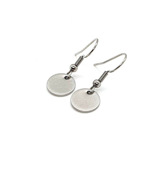 Silver Disc Earrings / Stainless Steel / Small Drop Earrings