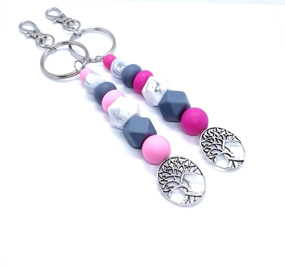 Pink Silicone Bead Keychains / Keychain for Women