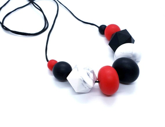 Black, Red and Marble Silicone Necklace // Statement Necklace