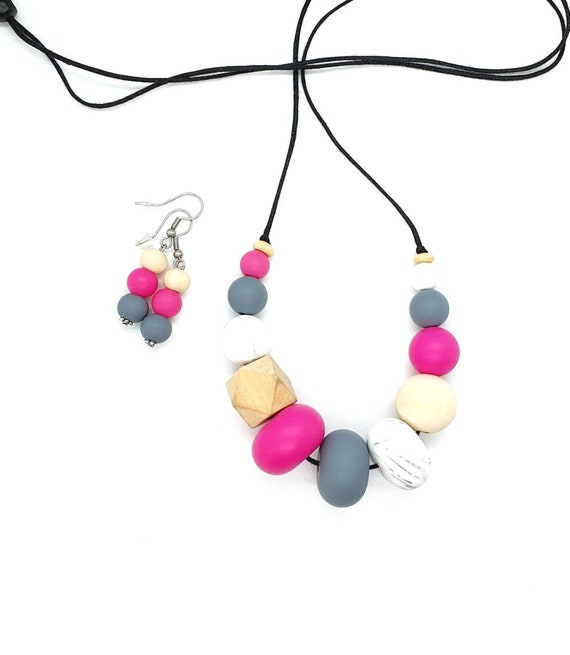Pink Silicone Necklace / Necklace and Earring / Statement Necklace